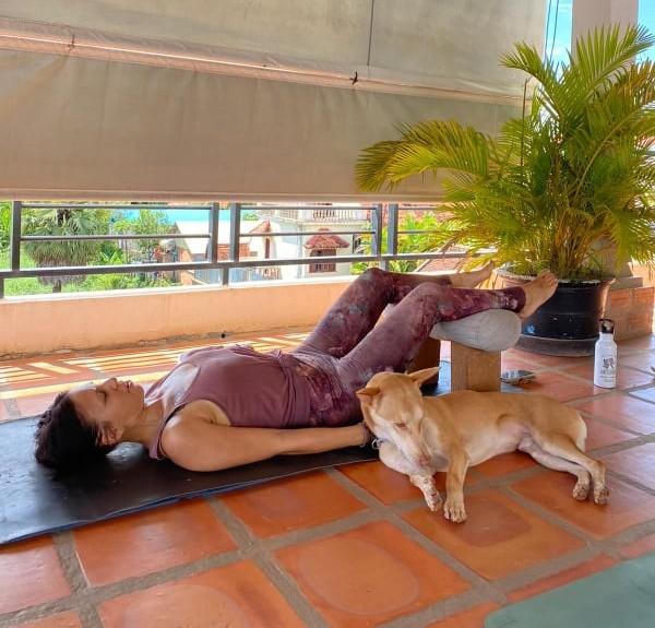 Camilla doing yoga with wesley