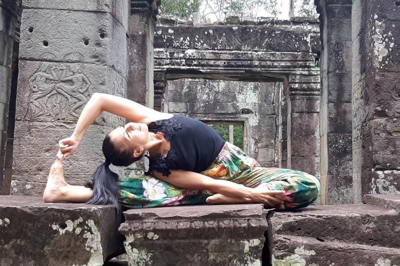 Camilla stretching at angkor wot
